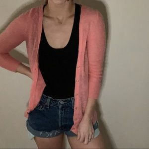 Super light weight pink fuzzy cardigan